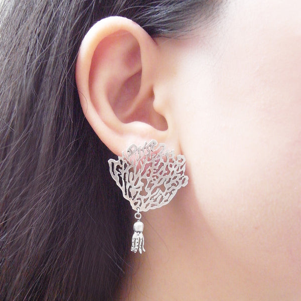 White Coral & Octopus Single Earring Silver on Model