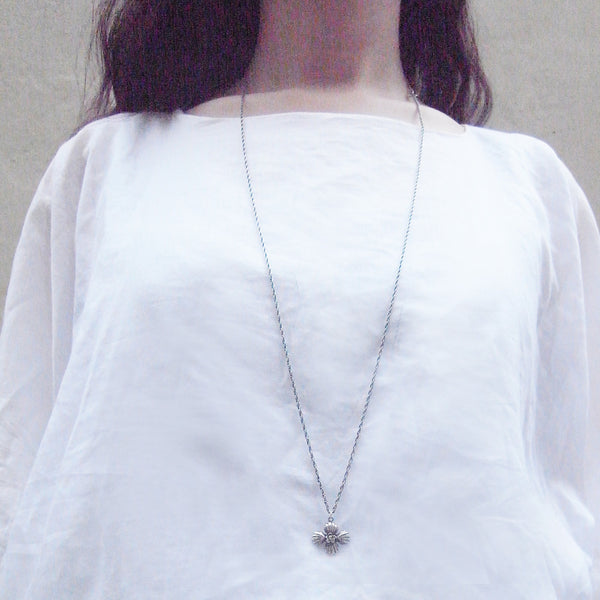 Cross Shell Long Necklace Silver on Model 2