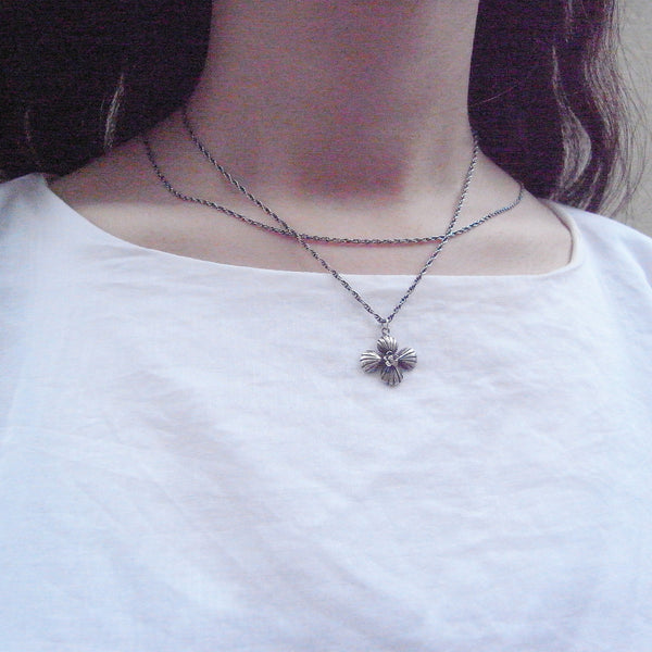 Cross Shell Long Necklace Silver on Model 1