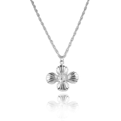 Cross Shell Long Necklace Silver Product Shot Main
