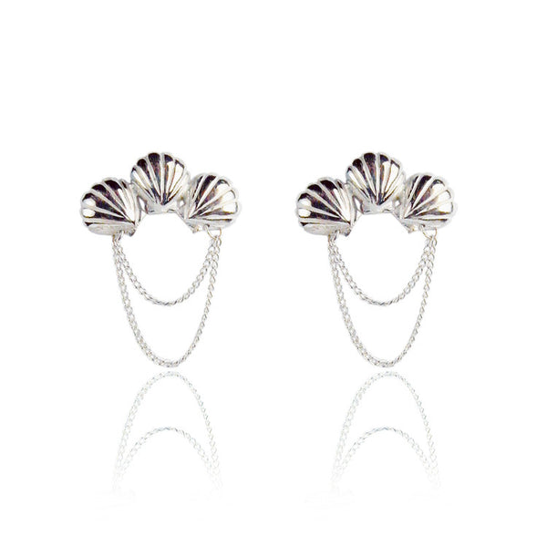 Triple Shell Earrings Silver Product Shot