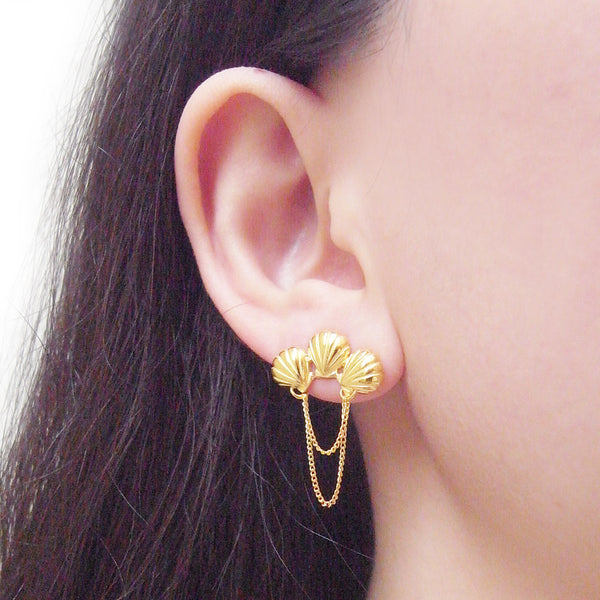 Triple Shell Earrings Gold on Model