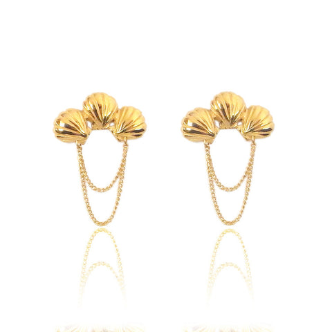 Triple Shell Earrings Gold Product Shot Main