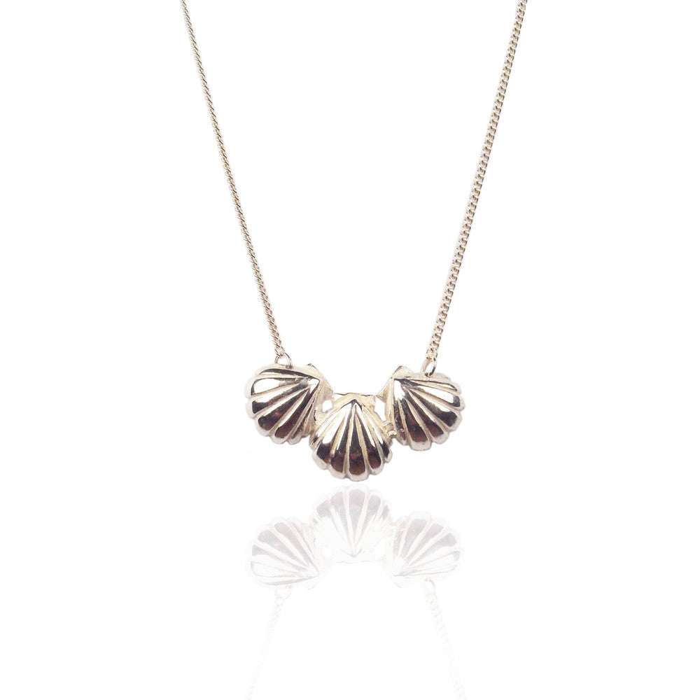 Triple Shell Necklace Silver Product Shot Main