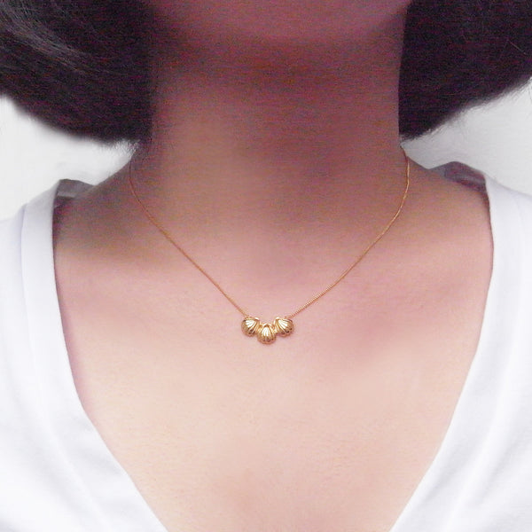 Triple Shell Necklace Gold on Model