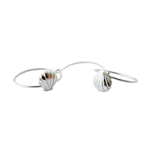 Double Shell Ring Silver Product Shot Main