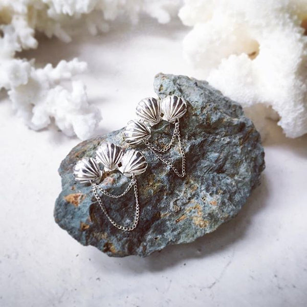 Triple Shell Earrings Silver