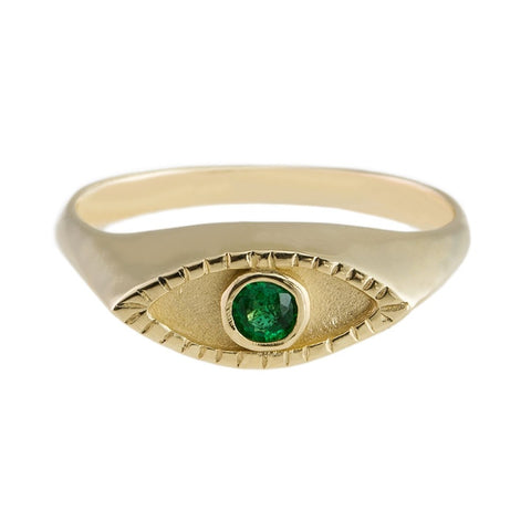 Eye signet ring Gold x Emerald