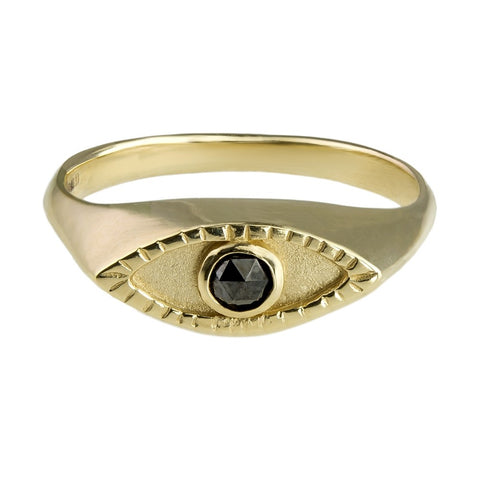 Eye signet ring Gold x Black Diamond (rose cut)
