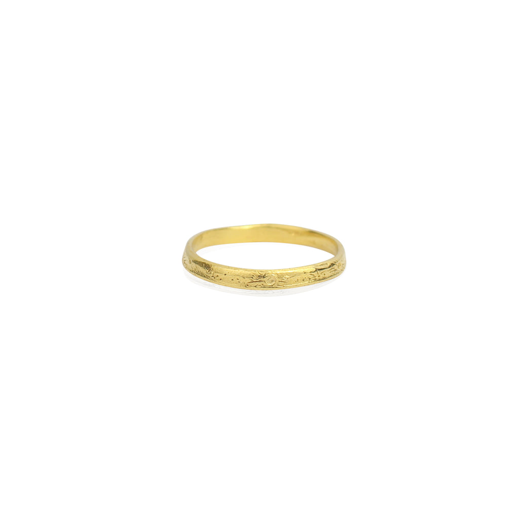Moon crater ring 2mm gold vermeil