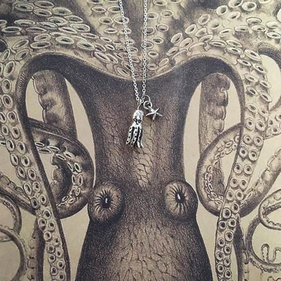 Octopus and Tiny Star Necklace