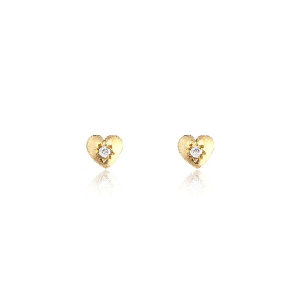 Tiny Heart Stud Earrings Gold with Diamond
