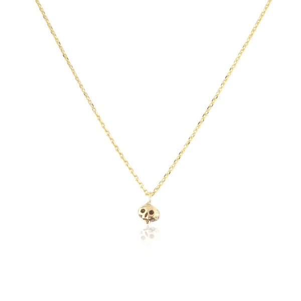 Micro Skull Necklace 9k Yellow Gold product shot