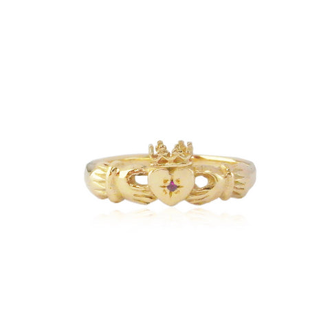 Claddagh Ring with Ruby x Gold