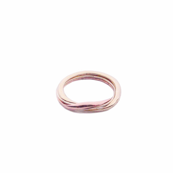 Tri-colour 9k gold gimmel ring