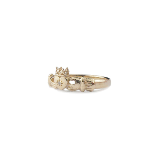 9k gold claddagh ring with diamond crown heart hands