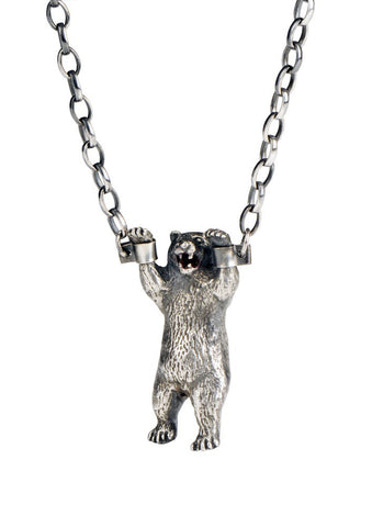 Handcuffed Bear Necklace Silver Product Shot Main