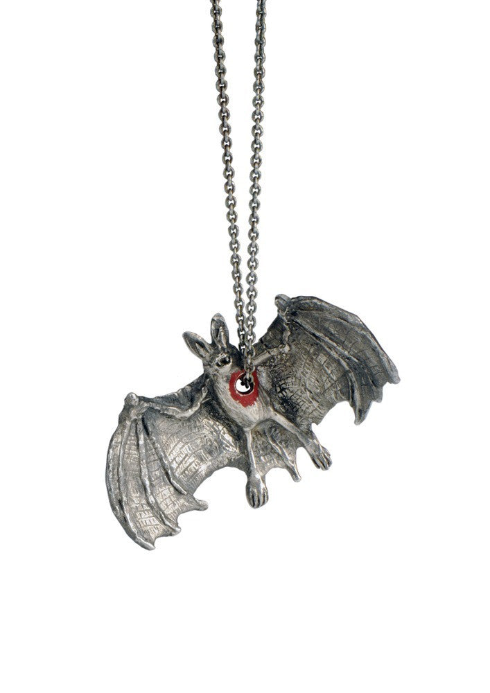 Hole in Heart Bat Necklace Silver Product Shot