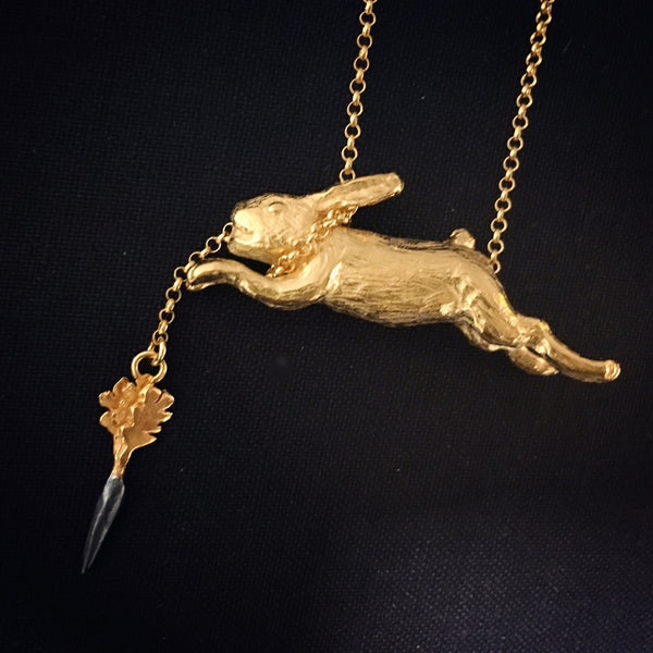 Eat and Vomit (Rabbit & Carrot) Necklace Gold