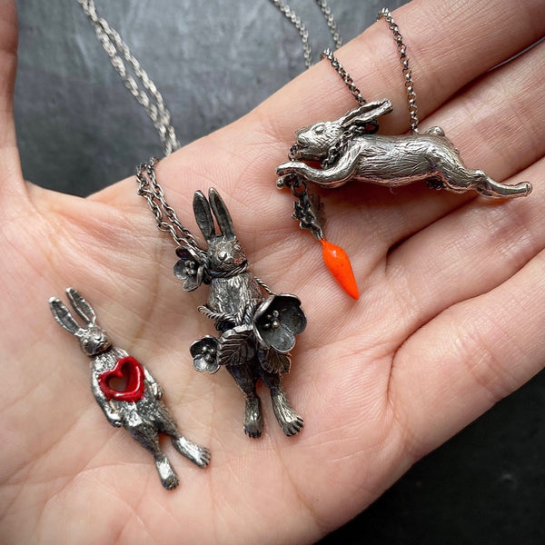 Eat and Vomit (Rabbit & Carrot) Necklace Silver & Resin