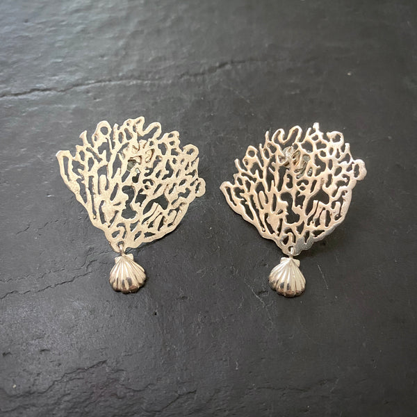 Coral & Shell Earrings Silver