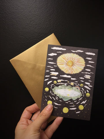 Sun, moon and stars Greeting Card