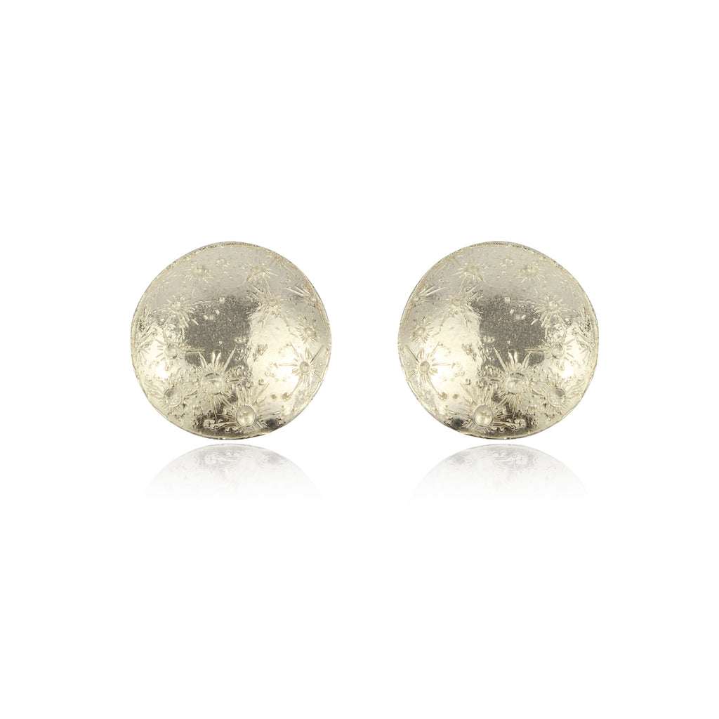 Large moon disc earrings silver