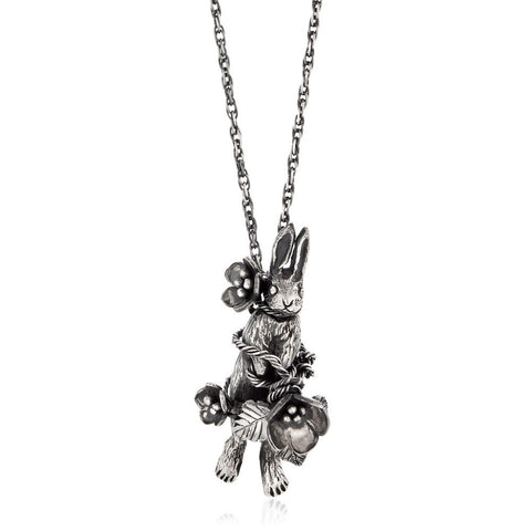 Flower Rabbit Necklace Silver Product Shot Main