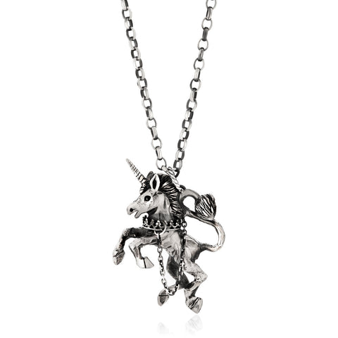 Unicorn Necklace Silver Product Shot Main