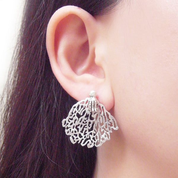 MOMOCREATURA White Coral & Octopus Single Stud Earring Silver on Model