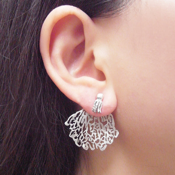 White Coral & Octopus Single Stud Earring Silver on Model