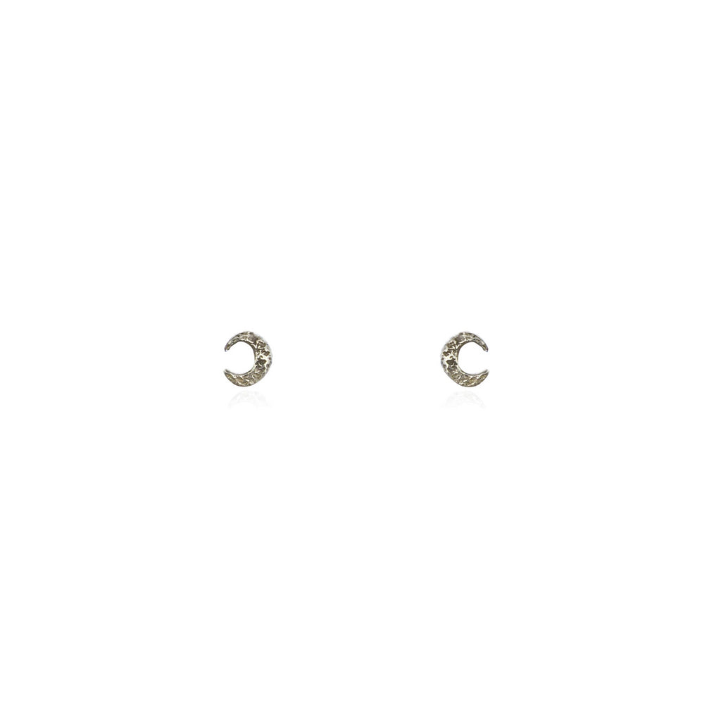 Micro crescent stud earrings silver