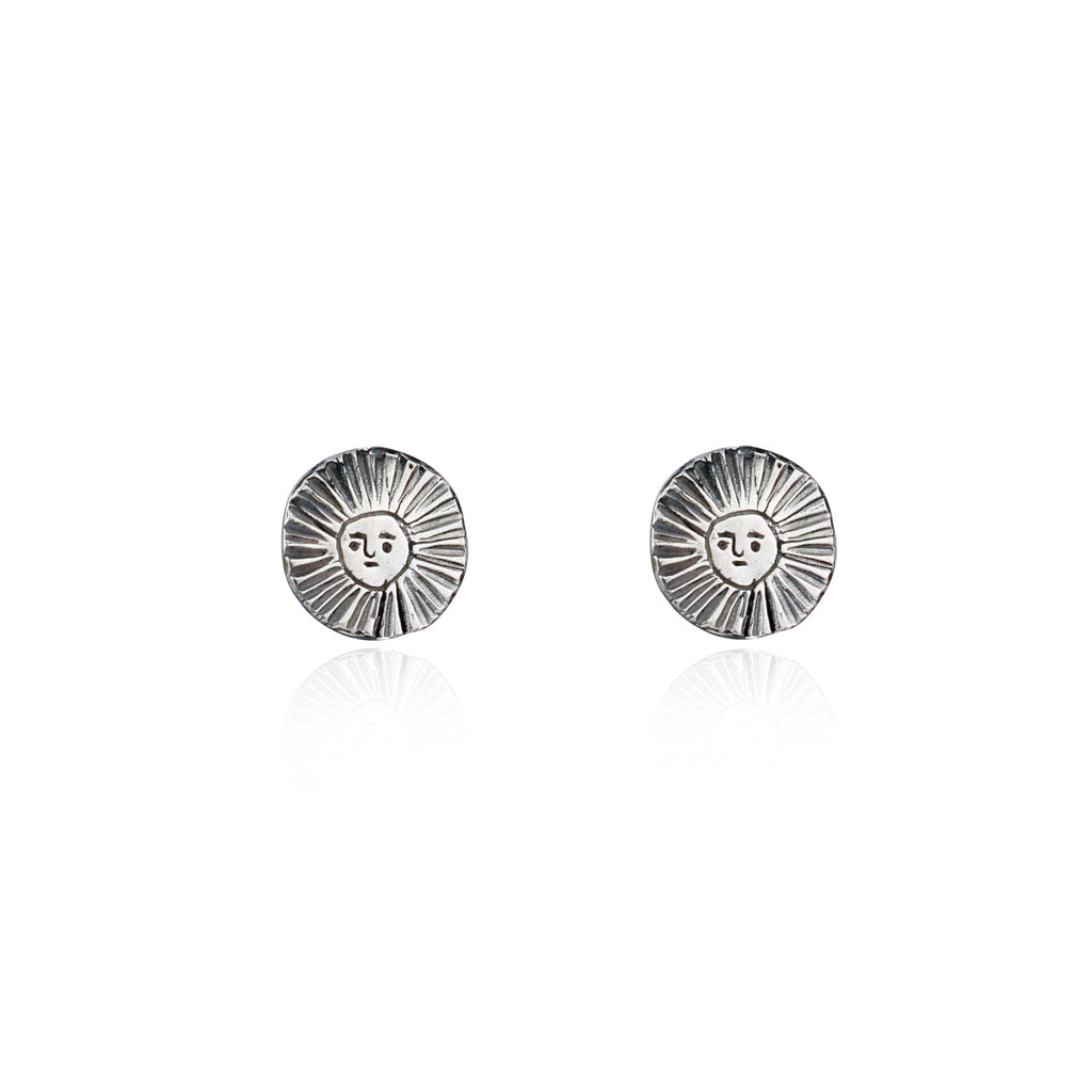 Sun disc earrings oxidised silver