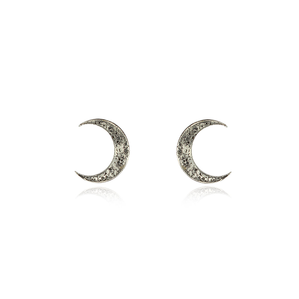 Crescent moon earrings silver