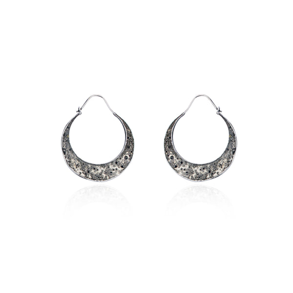 Large crescent moon hoop earrings silver