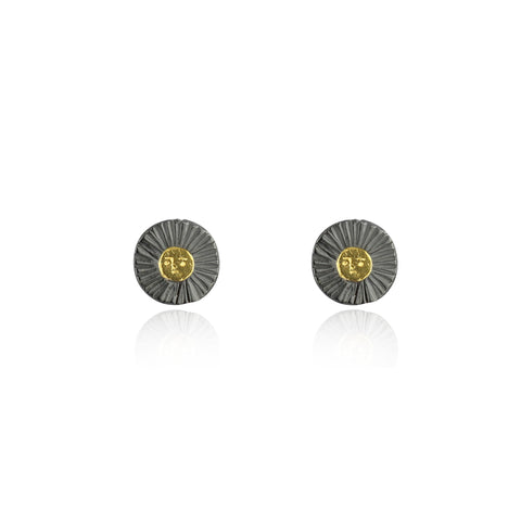 Sun disc earrings gold x black