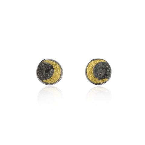 Moon disc earrings gold x black