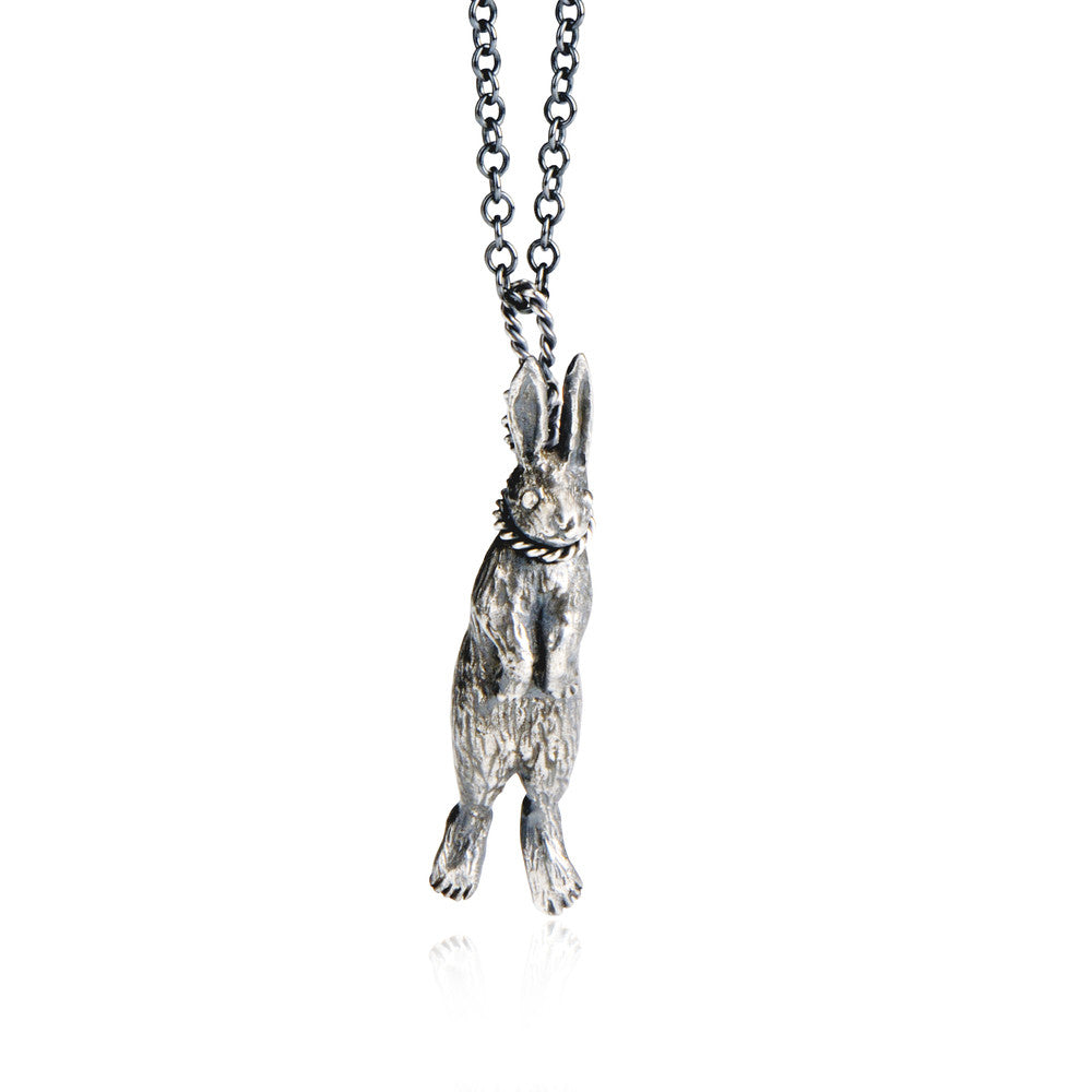 Hanging Rabbit Pendant Silver Product Shot Main