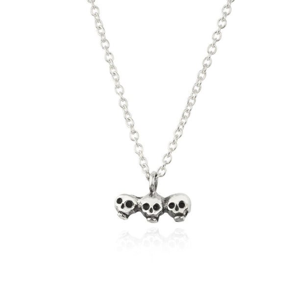 Skull Brothers + Axe Necklace Silver