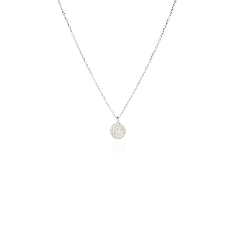 Mini moon disc necklace silver