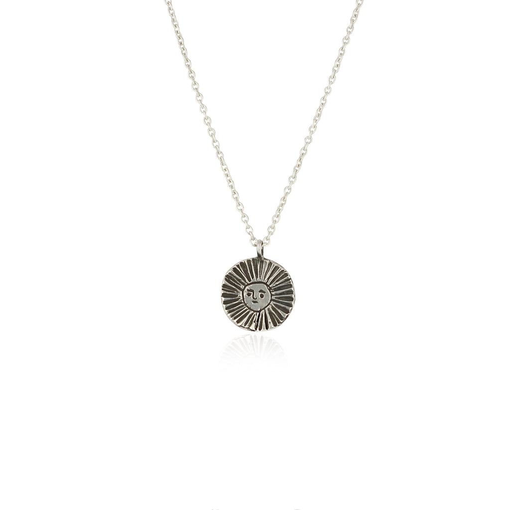 Sun disc necklace oxidised silver