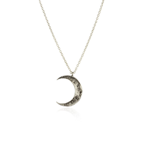 Crescent moon necklace silver