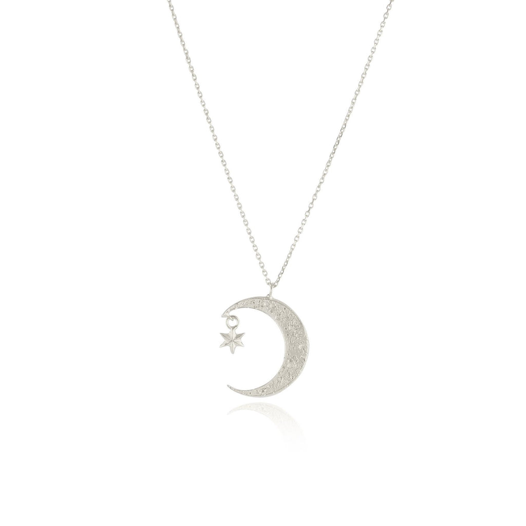 Crescent moon & star necklace silver