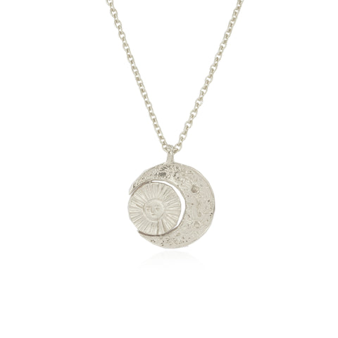 Crescent moon & sun/moon necklace silver