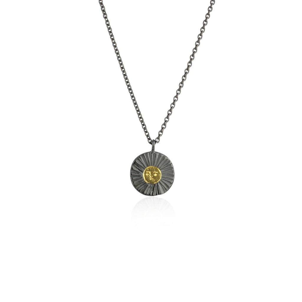 Sun disc necklace gold x black