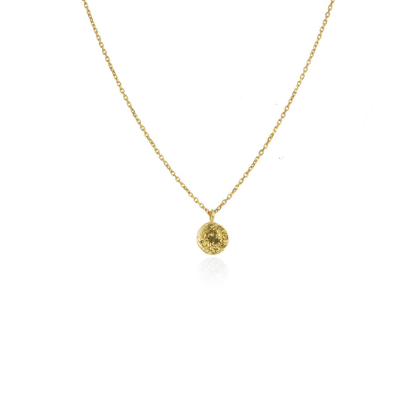 Mini moon disc necklace gold