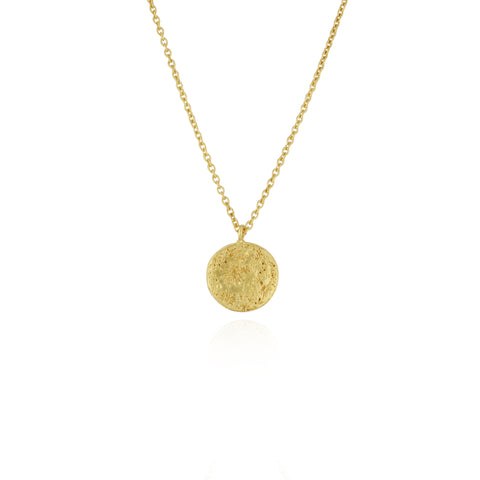 Moon disc necklace gold vermeil
