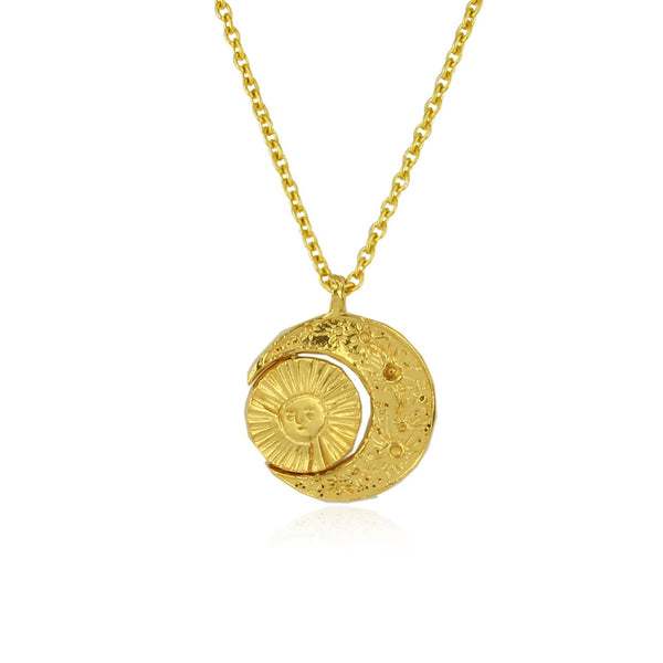 Crescent moon & sun/moon necklace gold