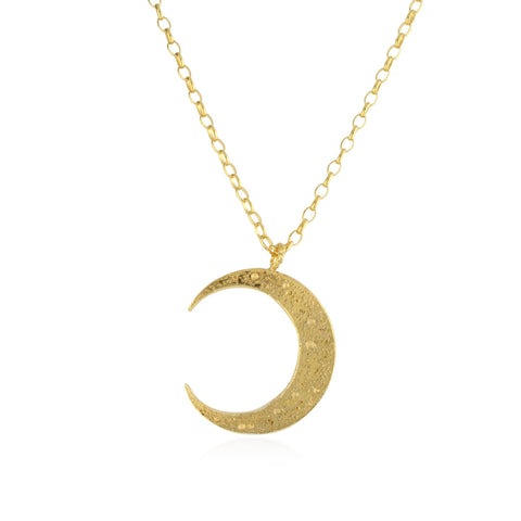 Large crescent moon long necklace