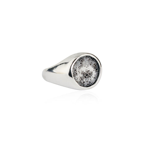 Moon signet ring oxidised silver